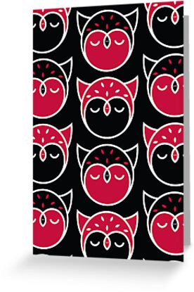 Owl Pattern Vertical Card by Mariya Olshevska
