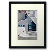 Blue Gate And Fence Framed Print