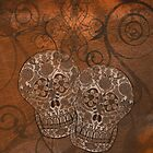 Brown Grunge, Sugar Skulls iPad Case by Cherie Balowski