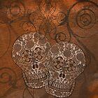 Brown Grunge, Sugar Skulls iPad Case by Cherie Balowski