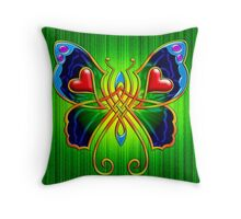 Celtic Butterfly on Green Throw Pillow