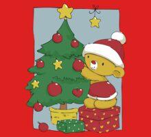 Christmas Bear decorating Christmas tree Kids Tee