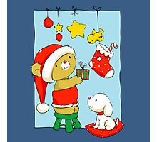 Christmas Bear doing Christmas decorations Photographic Print