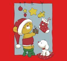 Christmas Bear doing Christmas decorations One Piece - Long Sleeve