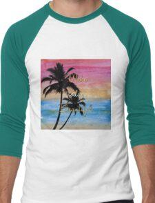 """Make today beautiful"" gold quote, watercolor abstract summer sea colors Men's Baseball ¾ T-Shirt"