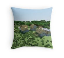The Village - Minecraft Landscape Throw Pillow