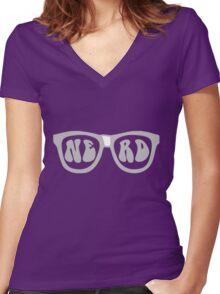 Nerd Glasses Women's Fitted V-Neck T-Shirt