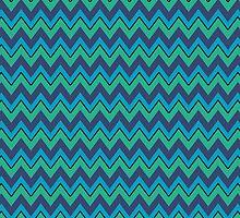 Navy, Turquoise, Green Chevron Stripes, iPad Case by Cherie Balowski