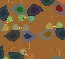 Gold Textured Whimsical Birdies iPad Case by Cherie Balowski