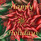 Fractal Poinsettia Holiday Card by wolfepaw