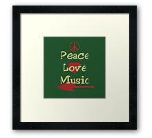 Vintage Peace,Love,Music Framed Print