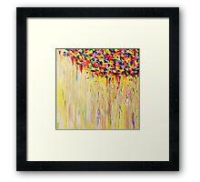 Raining Sunshine - Bold Bright Sunny Colorful Rain Storm Abstract Acrylic Painting Framed Print
