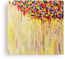 Raining Sunshine - Bold Bright Sunny Colorful Rain Storm Abstract Acrylic Painting Canvas Print