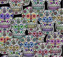 Day of the Dead, Dia de los Muertos, Sugar Skulls iPad Case by Cherie Balowski