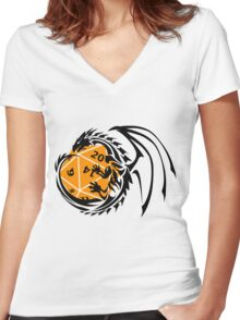 Dungeons and Dragons - Black and Orange! Women's Fitted V-Neck T-Shirt