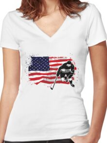 American Ice Hockey - USA Vintage Flag Women's Fitted V-Neck T-Shirt