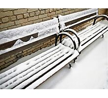 SNOW ON BENCH Photographic Print