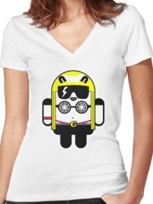 Lady Gaga goes Google Android Style!  Women's Fitted V-Neck T-Shirt