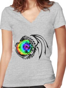 Dungeons and Dragons - Black and Rainbow (Prismatic)! Women's Fitted V-Neck T-Shirt