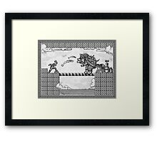 Super Mario Final Koopa Vintage Engraving Framed Print