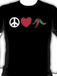 """Mexican """"Peace Love Hot Chile Peppers"""" T-Shirt"""