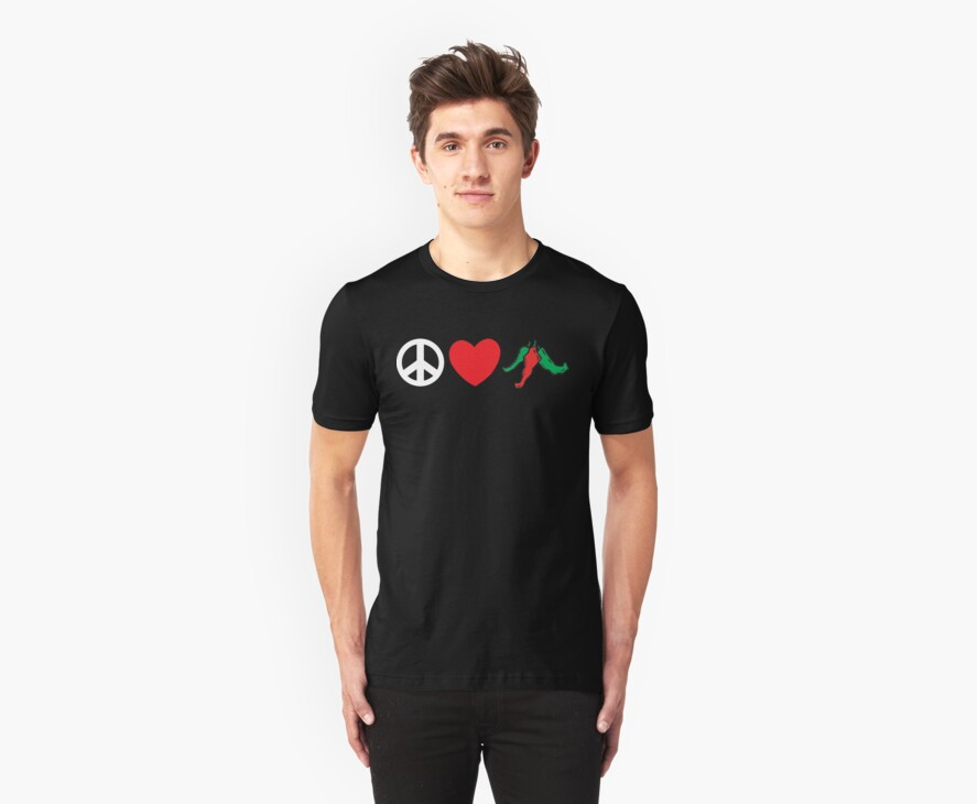 "Mexican ""Peace Love Hot Chile Peppers"" by HolidayT-Shirts"