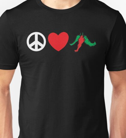 "Mexican ""Peace Love Hot Chile Peppers"" Unisex T-Shirt"