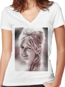 Brigitte Bardot Hollywood Icon by John Springfield Women's Fitted V-Neck T-Shirt