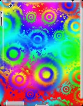 Rainbow Gradient, Tie Dyed Circles iPad Case by Cherie Balowski