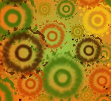 Golds, Greens, Reds, Tie Dyed Circles iPad Case by Cherie Balowski