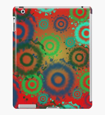 Red, Aqua, Gold Tie Dyed Circles Patterns, iPad Case iPad Case/Skin