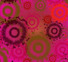 Bright Pink Tie Dyed Circles, iPad Case by Cherie Balowski