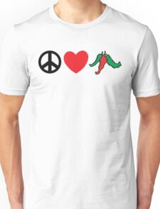 "Cinco de Mayo ""Peace Love Hot Chile Peppers"" Unisex T-Shirt"