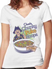 Chunk's Chunky Puke Hoops Women's Fitted V-Neck T-Shirt