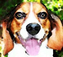 Beagle Dog Art - Frisky by Sharon Cummings