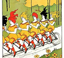 Vintage art Nouveau funny girls on a tandem bicycle by aapshop