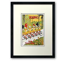 Vintage art Nouveau funny girls on a tandem bicycle Framed Print