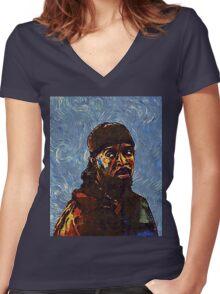Omar Little by VanGogh - www.art-customized.com Women's Fitted V-Neck T-Shirt