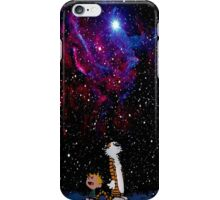 Calvin and hobbes fly in nebula iPhone Case/Skin