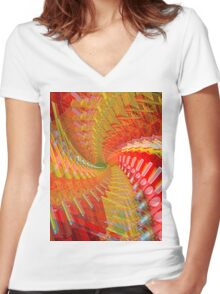 Abstract / Psychedelic Spiral Design Women's Fitted V-Neck T-Shirt