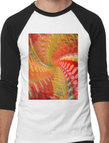 Abstract / Psychedelic Spiral Design Men's Baseball ¾ T-Shirt