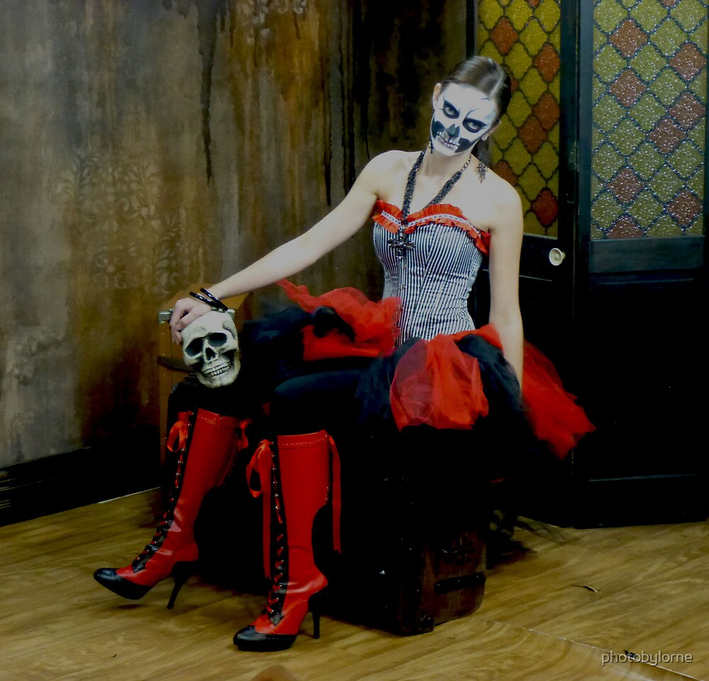 Masked Woman with Red Boots by photobylorne