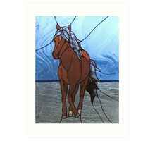 Faux Stained Glass Mustang Horse Animal Cathy Peek Art Print