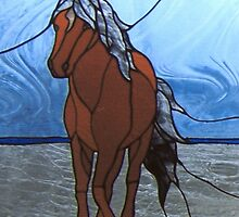 Faux Stained Glass Mustang Horse Animal Cathy Peek by Cathy Peek