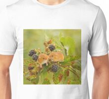 Harvest mice on blackberry bush Unisex T-Shirt