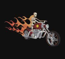 Skeleton Biker with Flame Graphics by bradyarnold