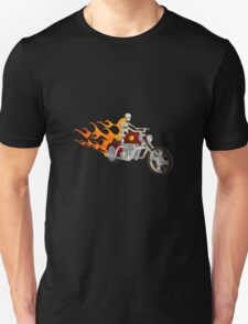 Skeleton Biker with Flame Graphics T-Shirt