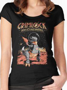 Space Pulp Robot Dinosaur Hero Women's Fitted Scoop T-Shirt