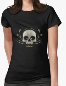 Skull with Tribal Graphics Womens Fitted T-Shirt