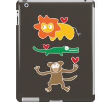 Cartoon Lion, Alligator & Chimpanzee Trio iPad Case/Skin